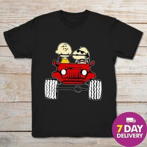 Snoopy And Charlie Brown In Jeep Funny Black